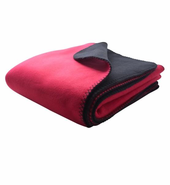 Bonded Fleece Decke zwei-farbig rot/schwarz